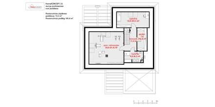 HomeKONCEPT 33 - rzut poddasza: styl nowoczesne, w kategorii Domy zaprojektowany przez HomeKONCEPT   Projekty Domów Nowoczesnych