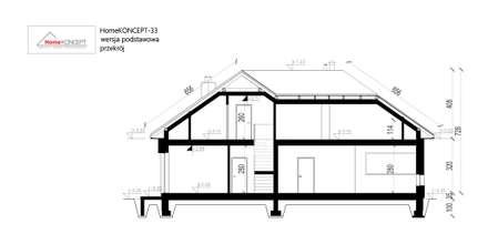 HomeKONCEPT 33 - przekrój: styl nowoczesne, w kategorii Domy zaprojektowany przez HomeKONCEPT   Projekty Domów Nowoczesnych