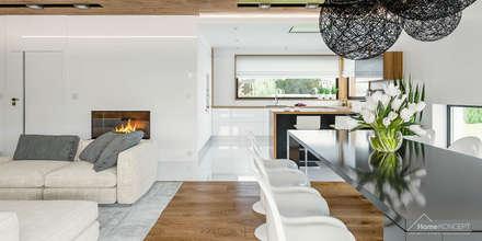 HomeKONCEPT 33 - projekty domów z wnętrzami: styl , w kategorii Jadalnia zaprojektowany przez HomeKONCEPT | Projekty Domów Nowoczesnych