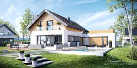 Projekt domu HomeKONCEPT-01- wizualizacja: styl nowoczesne, w kategorii Domy zaprojektowany przez HomeKONCEPT | Projekty Domów Nowoczesnych