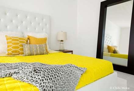 Mila Design - Penthouse 7 at 4 Midtown - Interior Design 16: moderne Schlafzimmer von Chibi Moku