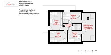 Projekt domu HomeKONCEPT-24- rzut poddasza: styl nowoczesne, w kategorii Domy zaprojektowany przez HomeKONCEPT | Projekty Domów Nowoczesnych