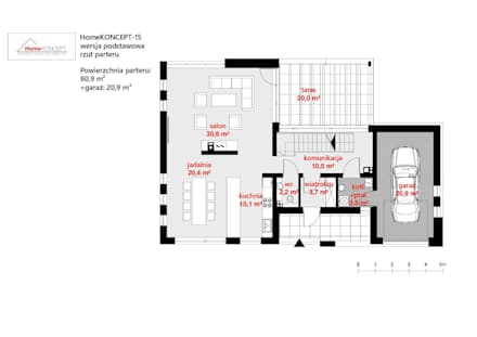 Projekt domu HomeKONCEPT-15- rzut parteru: styl nowoczesne, w kategorii Domy zaprojektowany przez HomeKONCEPT | Projekty Domów Nowoczesnych