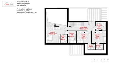 Projekt domu HomeKONCEPT-13- rzut poddasza: styl nowoczesne, w kategorii Domy zaprojektowany przez HomeKONCEPT | Projekty Domów Nowoczesnych