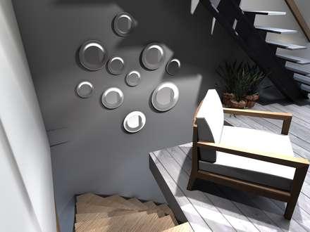 ESCALIER PROJET 3D: Couloir et hall d'entrée de style  par Claire de Bodinat / Archidesign