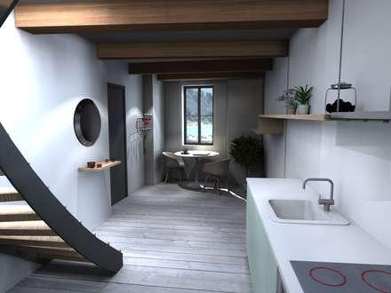 PREMIER ÉTAGE / ENTRÉE / COIN REPAS / PROJET 3D: Couloir et hall d'entrée de style  par Claire de Bodinat / Archidesign