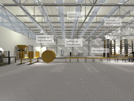 Galera de Bloques. Panamá para Consultora SSG: Garajes y galpones de estilo industrial por Cup Studio