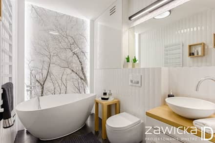 scandinavian Bathroom by ZAWICKA-ID Projektowanie wnętrz