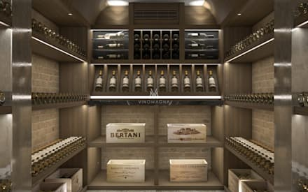 Rustic French Themed Wine Cellar: rustic Wine cellar by Vinomagna - Bespoke Wine cellars