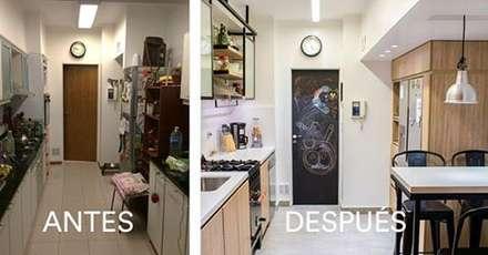 Antes y después.: Cocinas de estilo industrial por Estudio Urbain