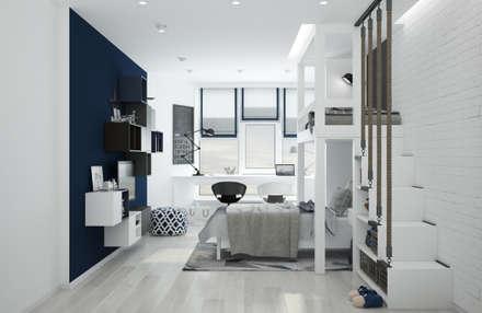 """Детская комната """"blue wall"""": modern Conservatory by СТУДИЯ   'ДА' ДАРЬИ АРХИПОВОЙ"""