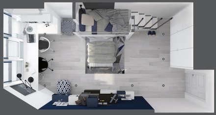 """Детская комната """"blue wall"""": modern Bedroom by СТУДИЯ   'ДА' ДАРЬИ АРХИПОВОЙ"""