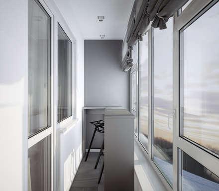 "Балкон спальни ""mountains"": modern Bathroom by СТУДИЯ   'ДА' ДАРЬИ АРХИПОВОЙ"