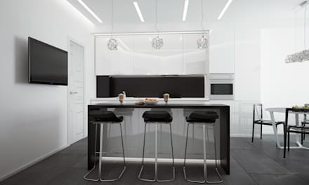 """Кухня """"black and white"""": modern Bathroom by СТУДИЯ   'ДА' ДАРЬИ АРХИПОВОЙ"""