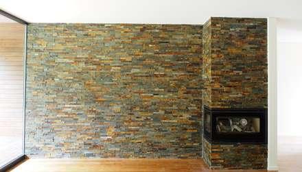 Revestimento da parede da sala e recuperador de calor: Salas de estar modernas por Lethes House