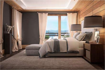 Дизан-проект шикарного дома в стиле шале: Спальни в . Автор – GM-interior