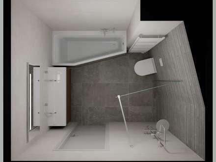 3D badkamer ontwerp met zichtbaar lijnenspel  : moderne Badkamer door Sani-bouw