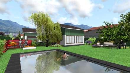 Jardin sinueux: Piscine de style de style Moderne par Anthemis Bureau d'Etude Paysage