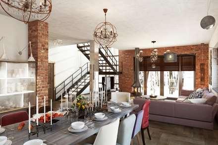 Обеденная зона в стиле лофт: Столовые комнаты в . Автор – Дизайн студия Алёны Чекалиной
