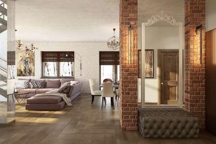 Зеркала позволяют облегчить интерьер и наполнить светом: Гостиная в . Автор – Дизайн студия Алёны Чекалиной