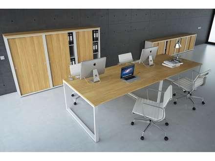 https://www.officinca.es/producto-estacion-de-cuatro-plazas-quadrante: Oficinas de estilo minimalista por Officinca
