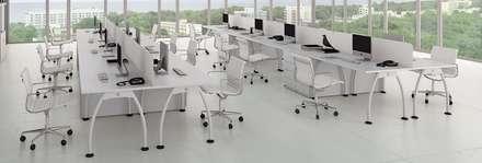Oficinas abiertas y sillas ergonómicas: Oficinas de estilo minimalista por Officinca