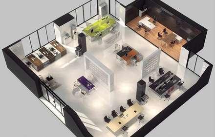 Render oficina abierta: Oficinas de estilo minimalista por Officinca