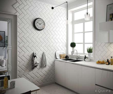 Metro White 10x20: Cocinas de estilo escandinavo de Equipe Ceramicas