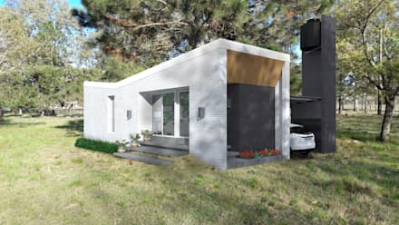 FACHADA / VIVIENDA F / EDICION CAPSULA / TU CASA: Casas de estilo moderno por VHA Arquitectura