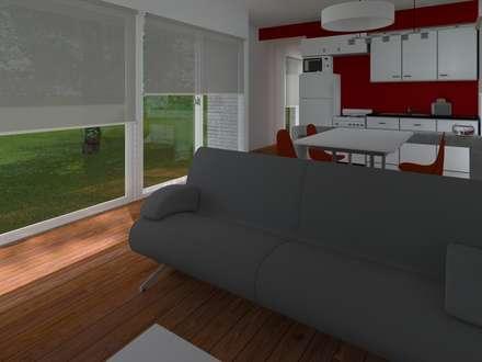 INTERIORES / VIVIENDA F / EDICION CAPSULA / TU CASA: Livings de estilo moderno por VHA Arquitectura