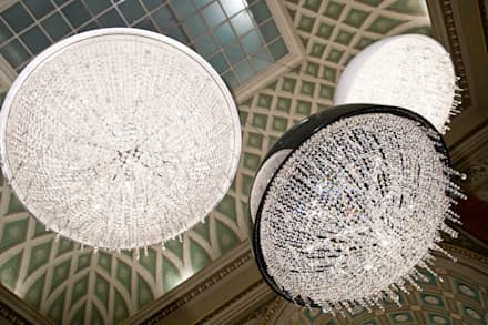 Ozero crystal chandelier composition:  Exhibition centres by Manooi