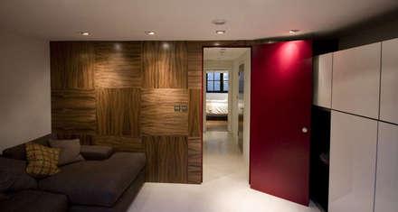 Walnut Panels and deep pink doors:  Windows  by Evolution Panels & doors