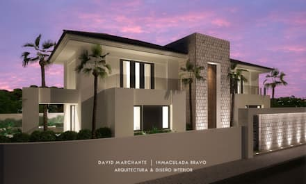 Dmg-Arquitectura - David Marchante - Inmaculada Bravo - Villa Benahavis - Cam 03 noche: Casas de estilo mediterráneo de David Marchante  |  Inmaculada Bravo