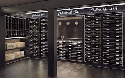 Aged Oak Custom Red Wine Cellar: rustic Wine cellar by Vinomagna - Bespoke Wine cellars