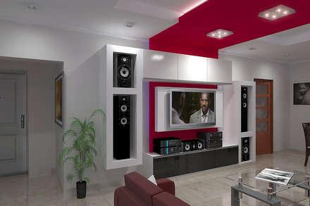 Diseño de Interior en Puán: Salas multimedia de estilo minimalista por G-R Arquitectura