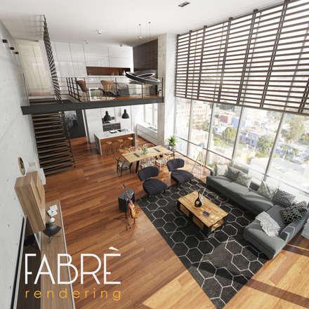 LOFT - ARMONIA: Salas / recibidores de estilo moderno por FABRE RENDERING