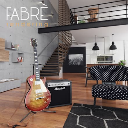 LOFT - DETALLES: Salas de entretenimiento de estilo moderno por FABRE RENDERING