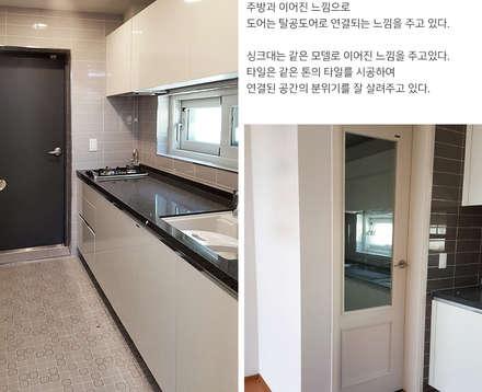 주변 지형과 어우러지는 고급스러운 모던스타일 전원주택[경기 양평]: 지성하우징의  차고
