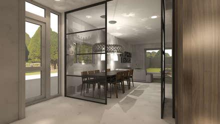 stalen pui woonkamer eetkamer: moderne Slaapkamer door DEEVIS Ontwerp & Management