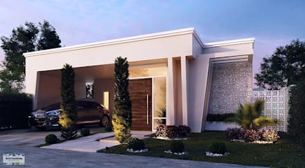 Fachada Frontal - Vila Branca I: Casas modernas por Art&Contexto Arquitetura