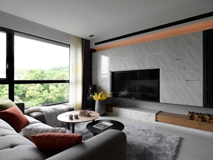 Salas / recibidores de estilo asiático por DYD INTERIOR大漾帝國際室內裝修有限公司