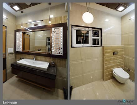 Three Storey Grand Residence @Paota,Jodhpur: modern Bathroom by RAVI - NUPUR ARCHITECTS