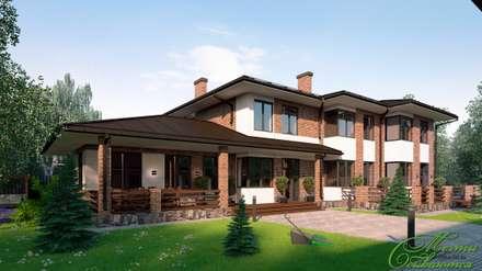 Дом со ступенчатым фасадом: Дома в . Автор – Компания архитекторов Латышевых 'Мечты сбываются'
