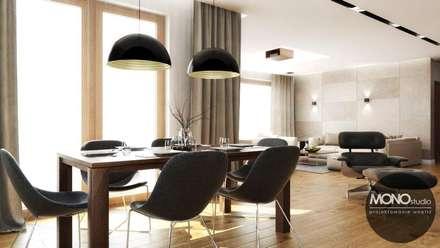 Salon otwarty na kuchnię i jadalnię: styl , w kategorii Jadalnia zaprojektowany przez MONOstudio