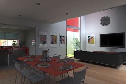 VIVIENDA UNIFAMILIAR: Salas / recibidores de estilo minimalista por TECTONICA STUDIO SAC