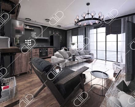 Interior Design and Rendering: industrial Living room by Design Studio AiD