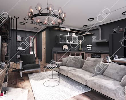 ​Interior Design and Rendering: rustic Living room by Design Studio AiD