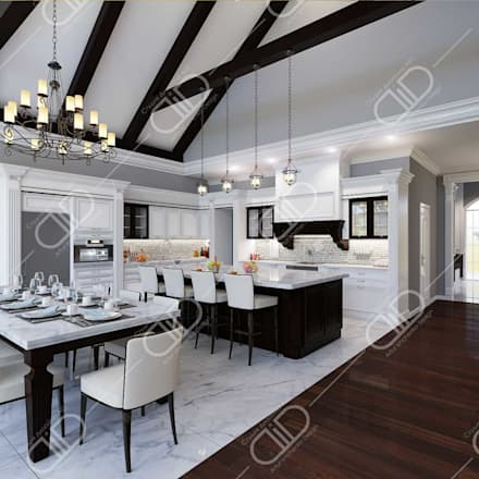 ​Interior Design and Rendering: colonial Kitchen by Design Studio AiD