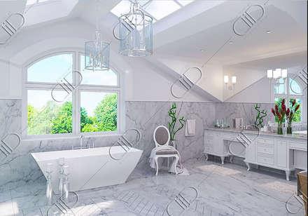 Interior Design and Rendering: classic Bathroom by Design Studio AiD