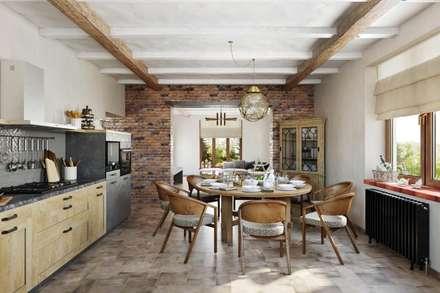Имитация деревянного перекрытия: Столовые комнаты в . Автор – Дизайн студия Алёны Чекалиной